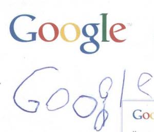 Primul cuvint scris la 4.5 ani... Google